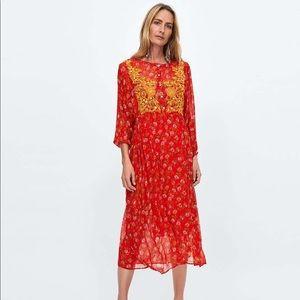 ZARA Orange Boho Mirrored Beaded Tunic Dress xl